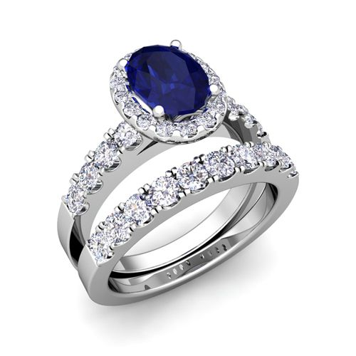Awesome Sapphire Wedding Ring Sets With Brilliant Pave Set Halo