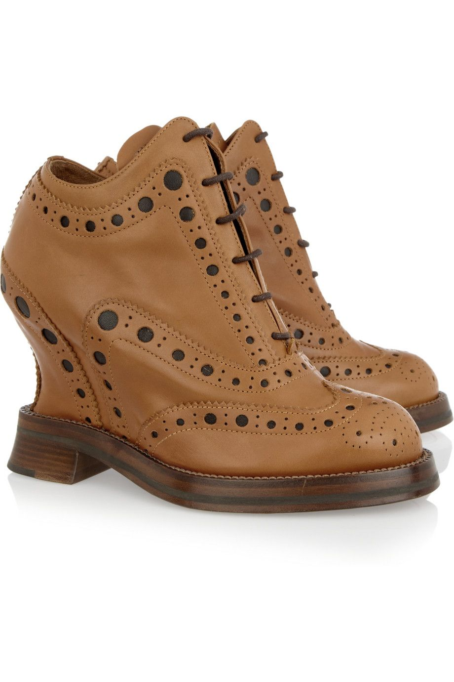 ACNE  Spin leather brogue-style wedges  $770