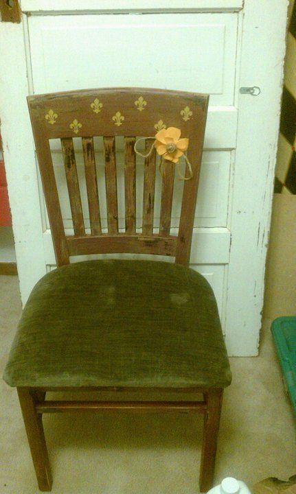 Accent chair, chocolate brown, soft sage, mustard yellow fleur de lis.  $50