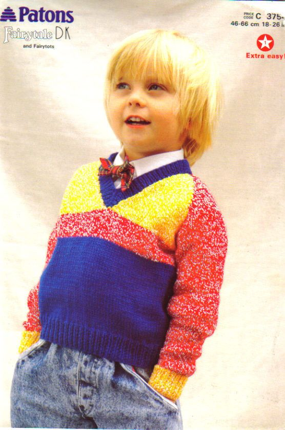 Details About Knitting Pattern Patons 3754 Childs Double Knit
