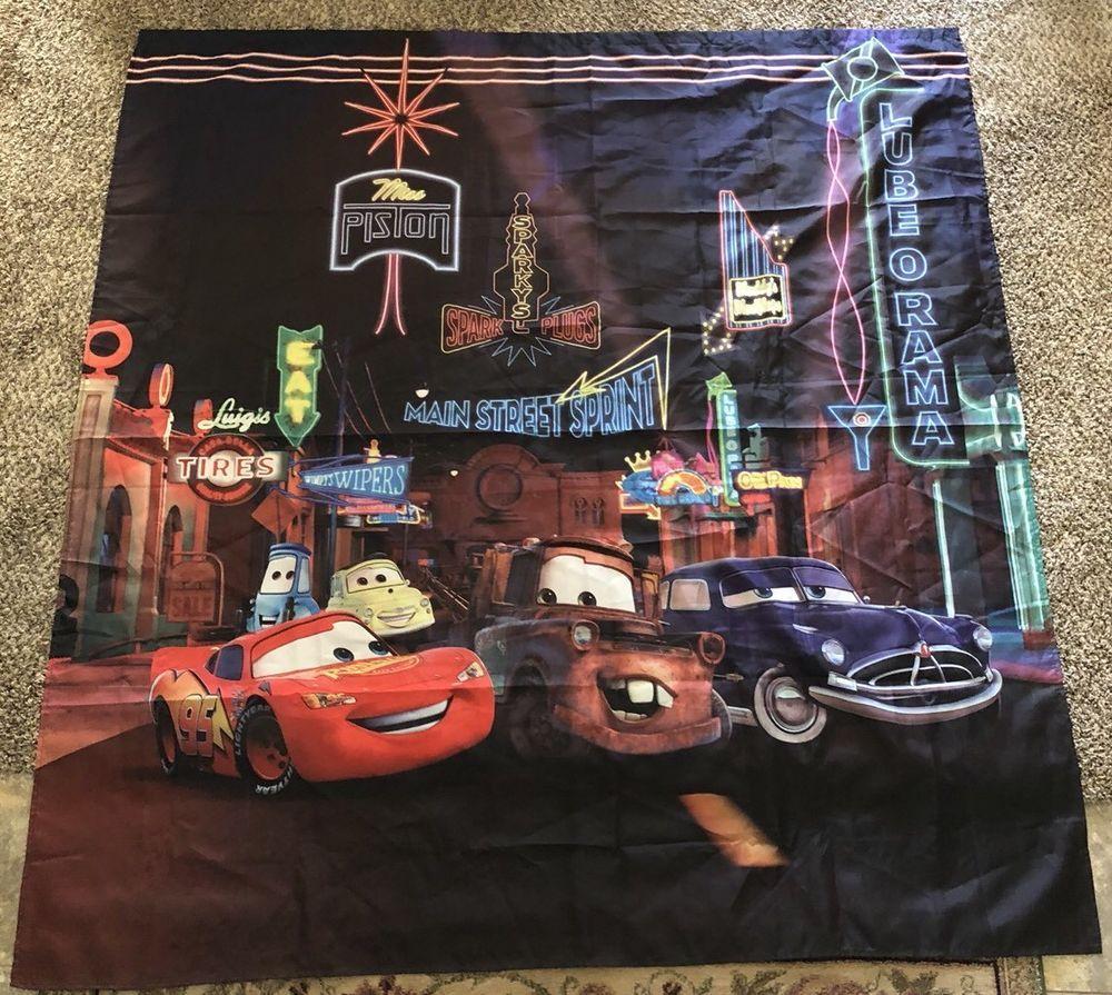 DISNEY CARS Shower Curtain Lightning McQueen Mater Doc Fabric Bathroom Decor