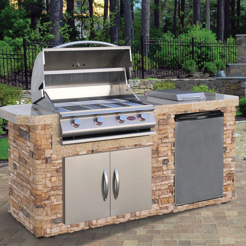 Complete 84 Nat Gas Outdoor Kitchen Island Bbq Side Burner Refer Double Doors Ebay