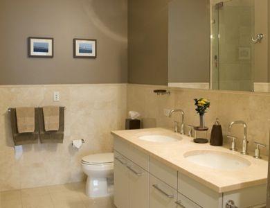 Tan Tile With Grey Walls Room Tiles Modern Master Bath Pink