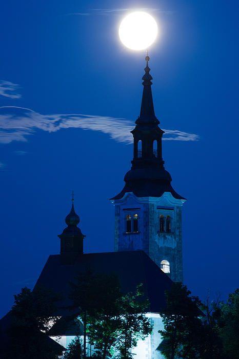 Supermoon Over Bled Island Church, Lake Bled, Slovenia