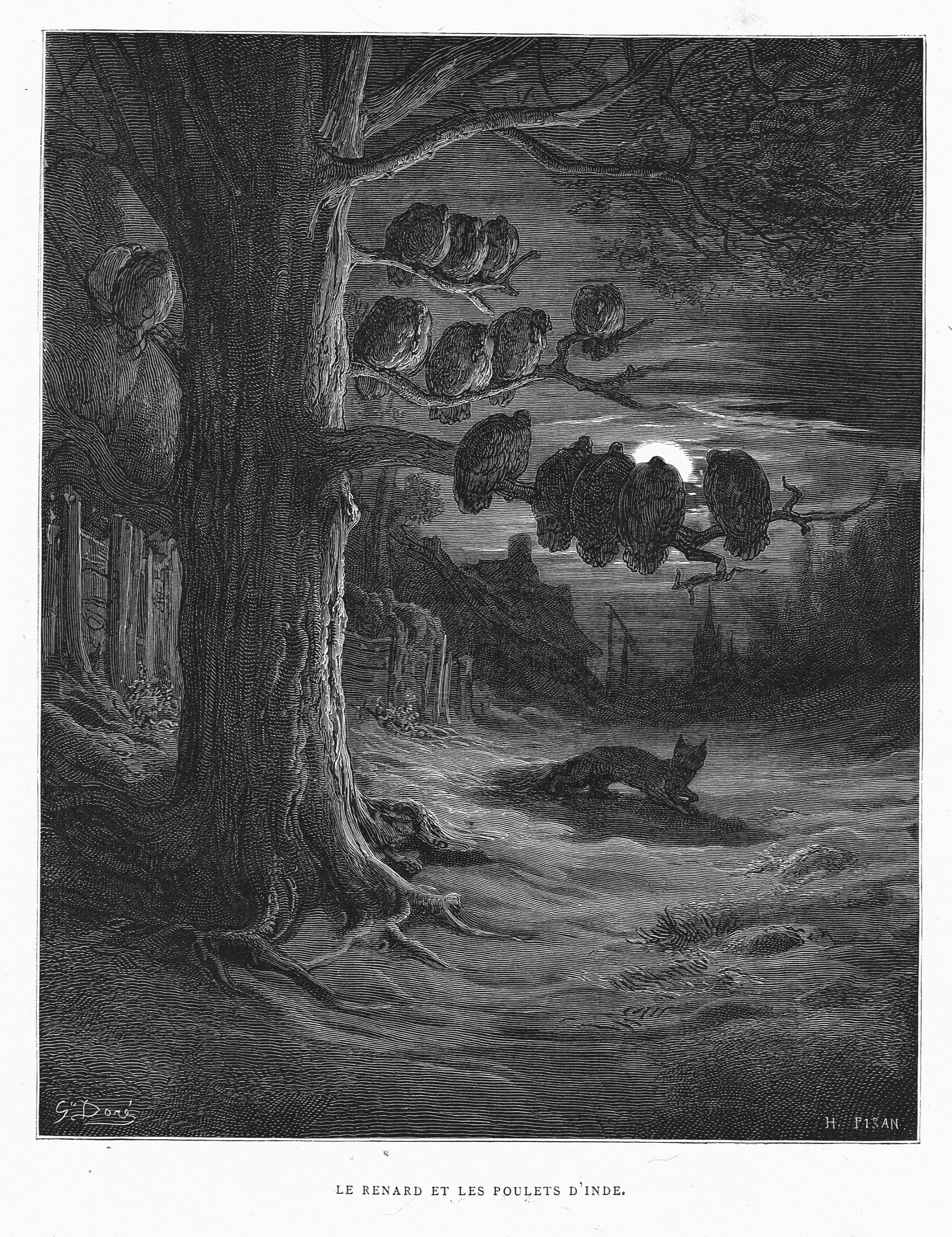 Le Renard Et Les Poulets D Inde By Gustave Dore From The Book Les Fables De La Fontaine By Jean De La Fontaine 1866 Surreal Art Satanic Art Autumn Art