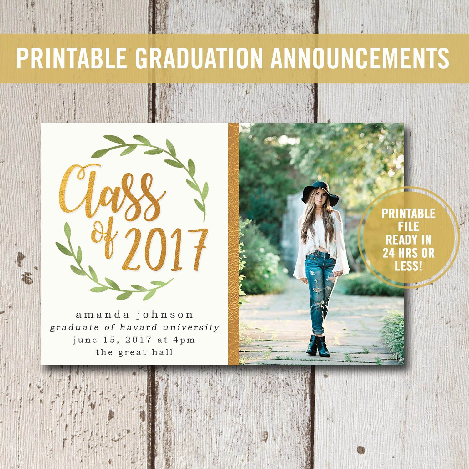 College graduation invitation printable high school graduation college graduation invitation printable or printed high school graduation announcement printed class of 2018 senior announcement 2018 filmwisefo Image collections