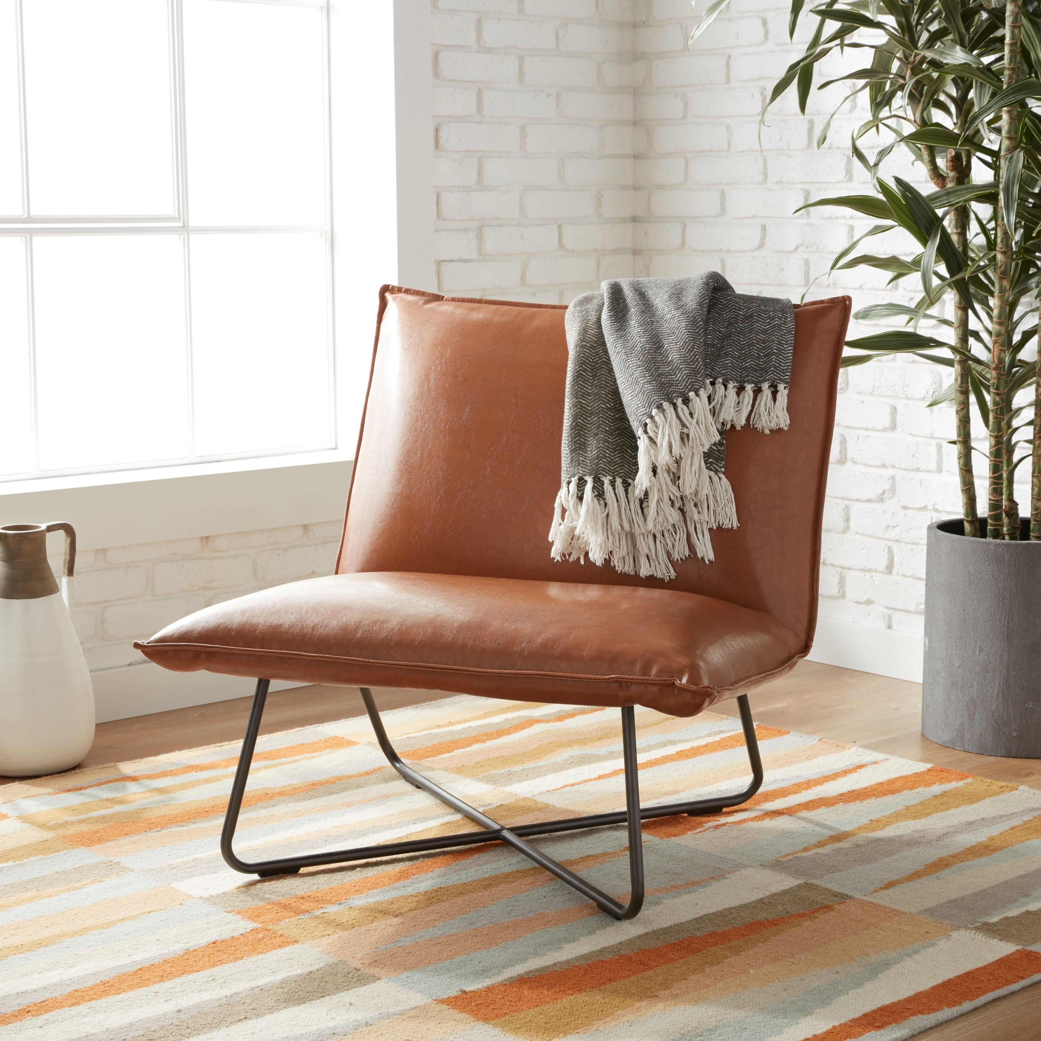 Carson Carrington Saddle Brown Pillow Lounge Chair   Free Shipping Today    Overstock.com   16555820