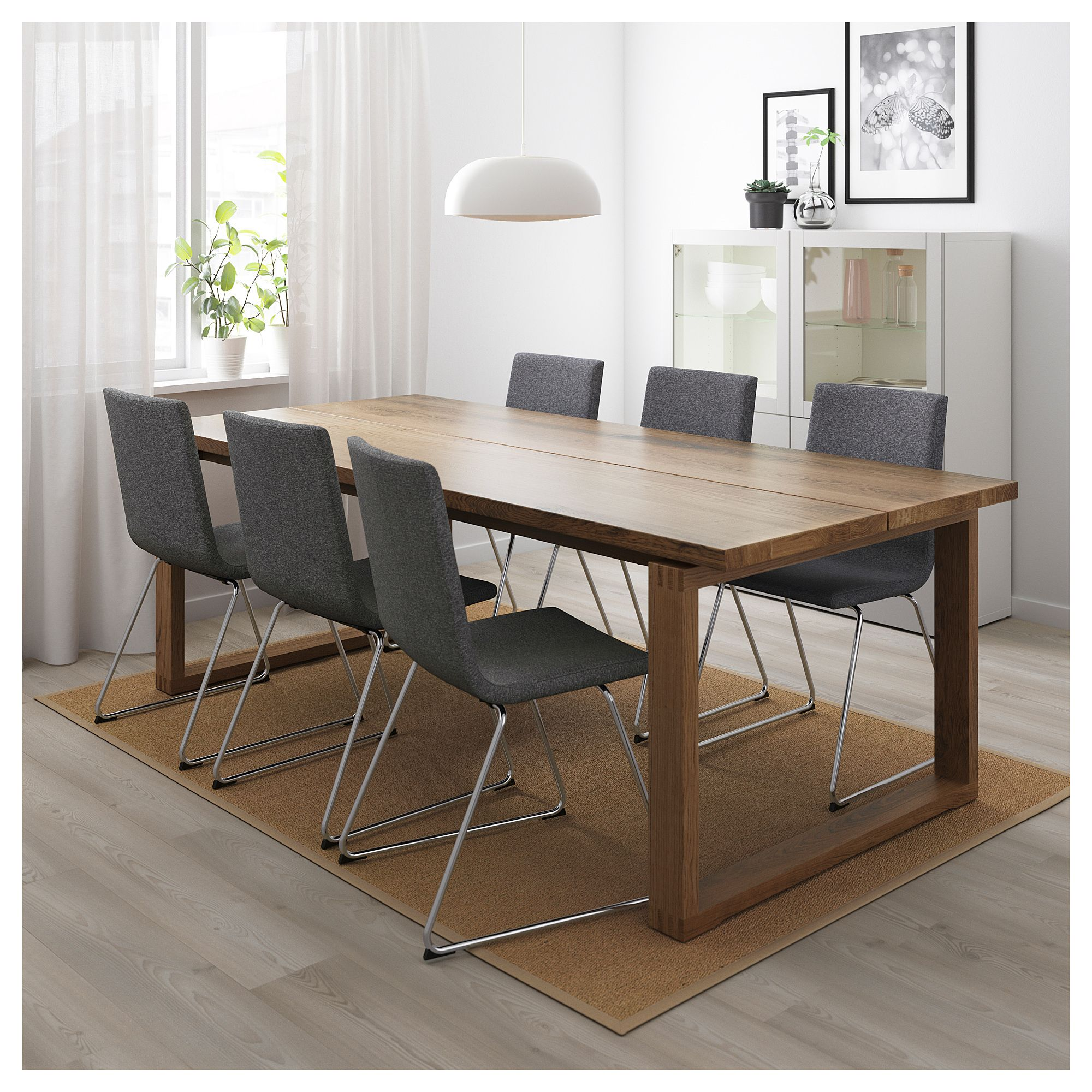 mÖrbylÅnga  volfgang table and 6 chairs  brown gunnared
