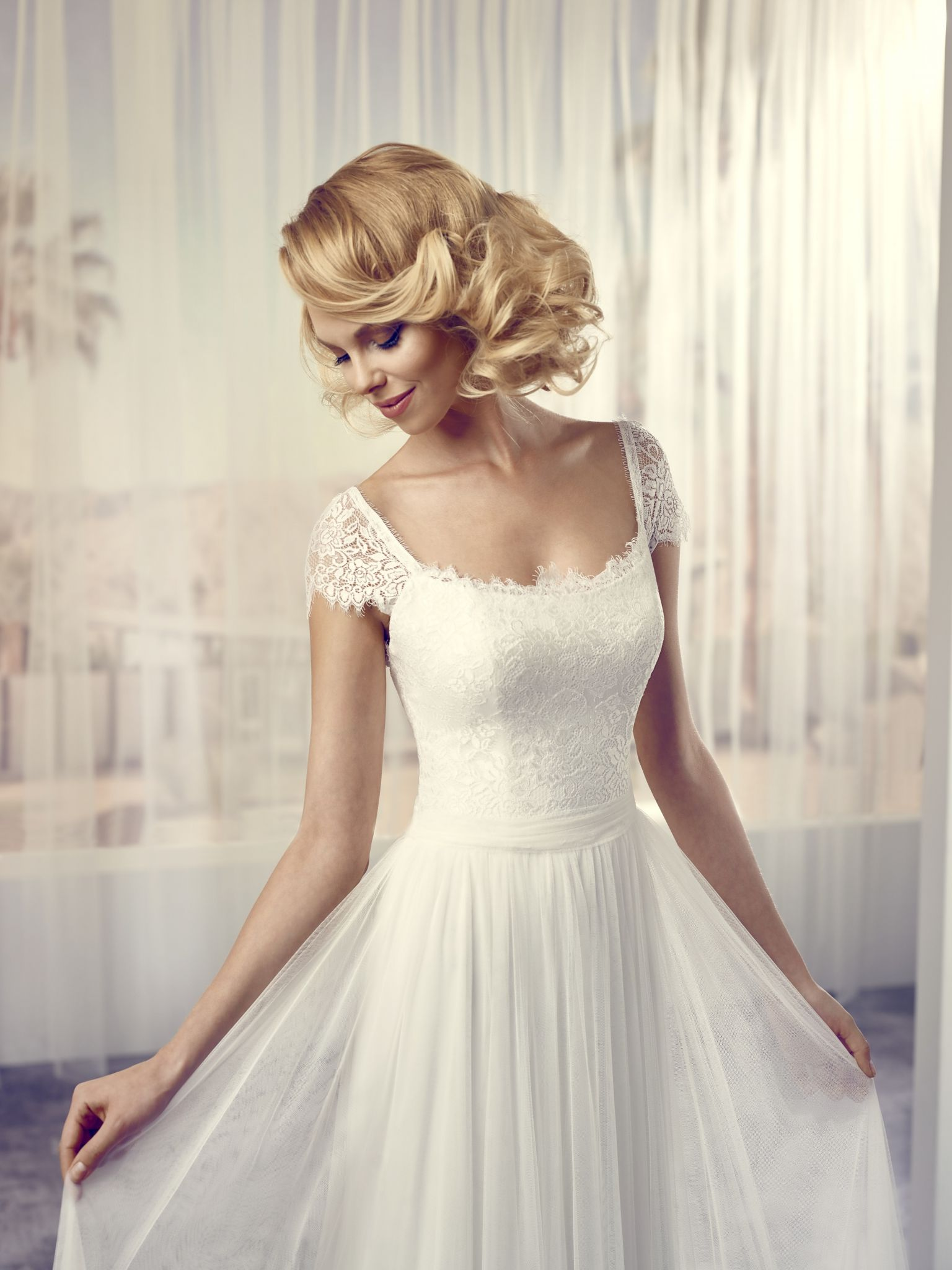 Blush wedding dress with sleeves  Le Papillon by Modeca Soft  Hochzeitskleid  Pinterest  Wedding