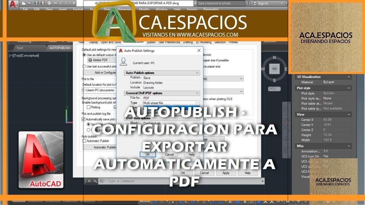 Autopublish Configuración Para Exportar A Pdf En Autocad Autocad Convertir A Pdf Tutoriales