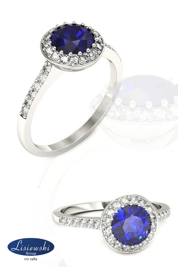 Wybitny Złoty pierścionek zaręczynowy z szafirem #engagement #zaręczyny RE24