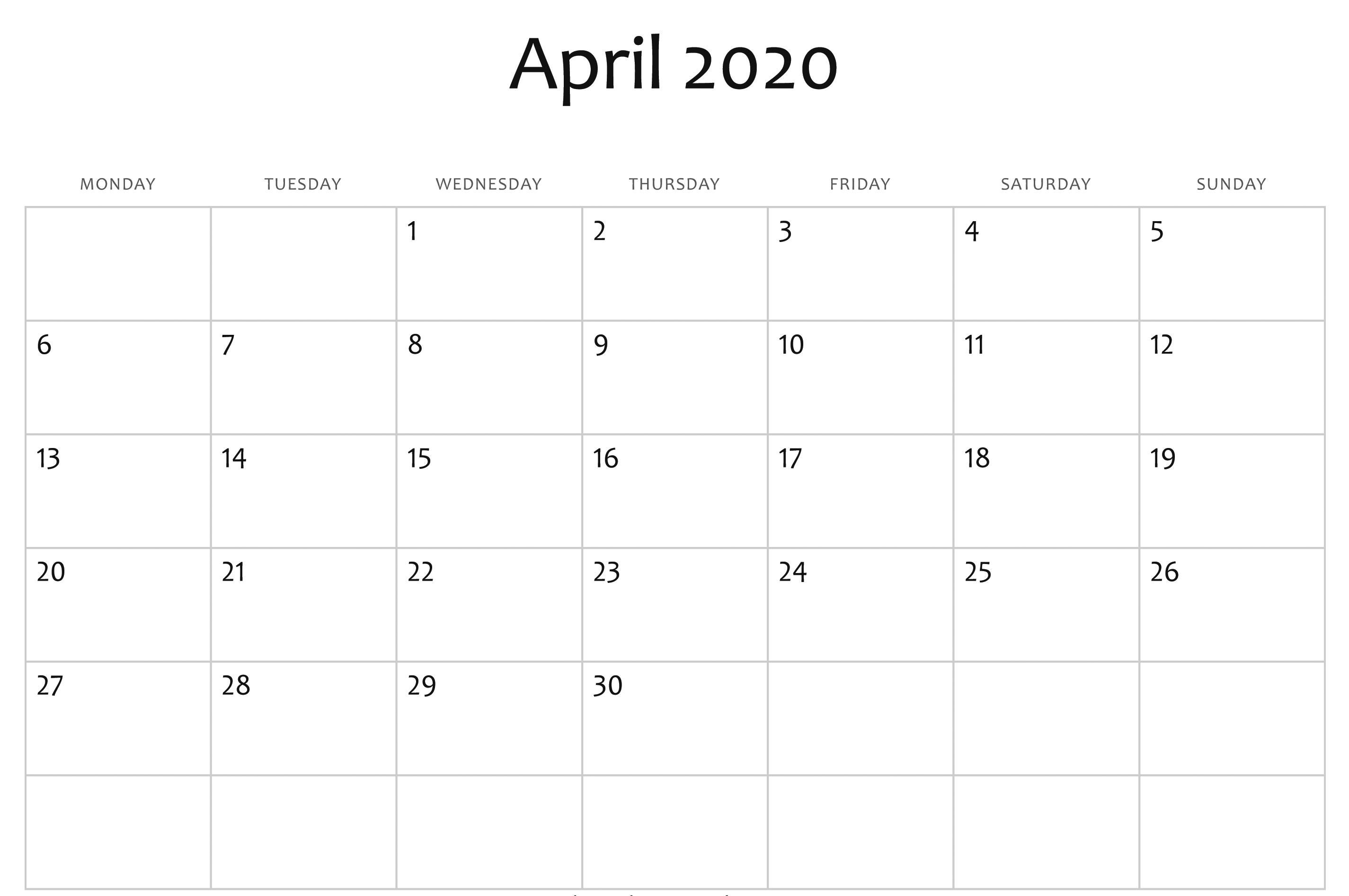 April Calendar 2020 Free Printable Template Pdf Word Excel 1 Free Printable Calendar Templates Excel Calendar Calendar Word