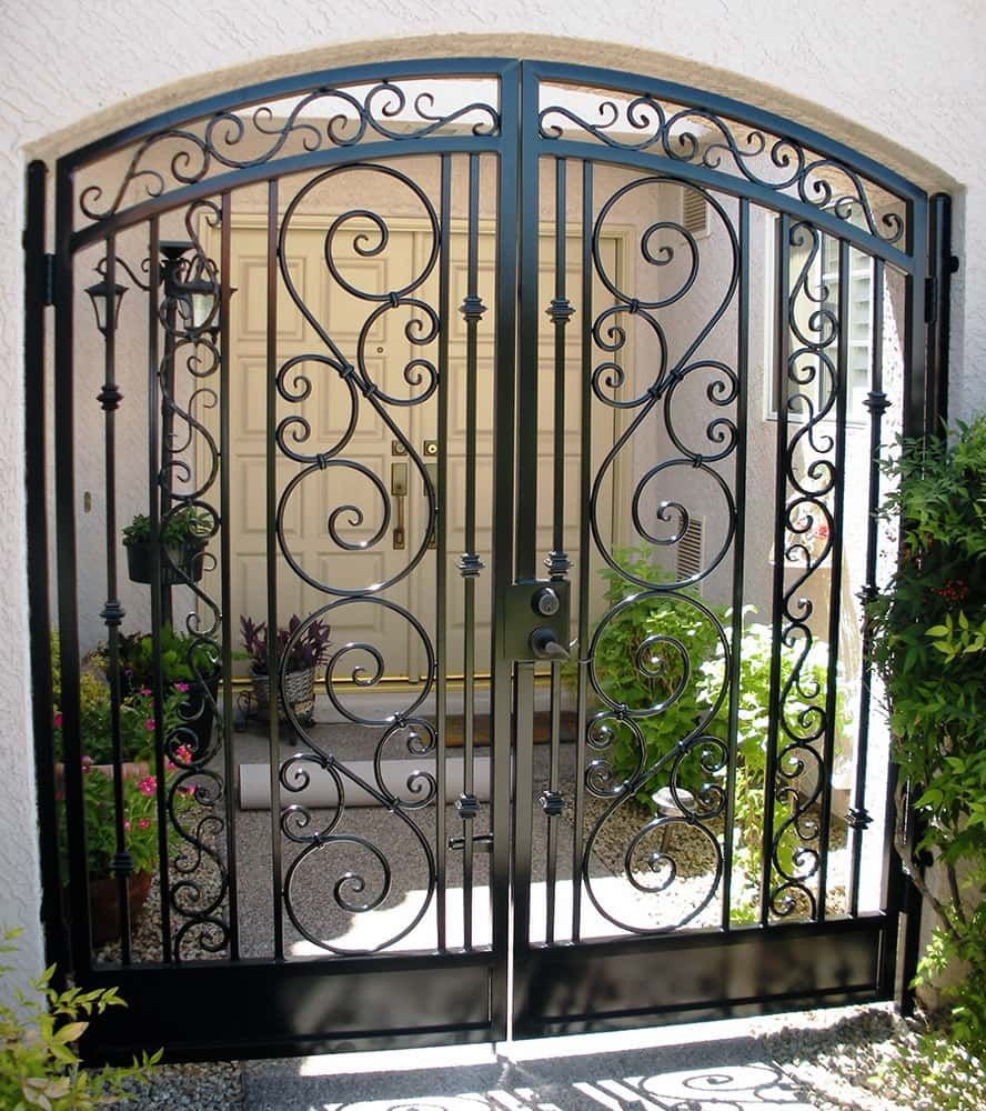 Arched Decorative Double Courtyard Entry Gate Fences