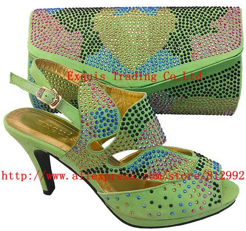 Free Shipping 2013 NEW ARRIVAL !!! Italian shoes with matching bags 307-2 green platfroms elegant italyshoes and matching bags US $93.63