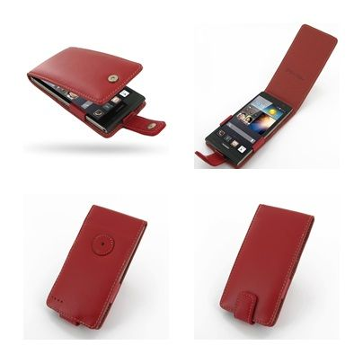 PDair Leather Case for Huawei Ascend P6 - Flip Type (Red)