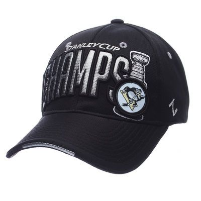 b9627fb3bcae9 Men s Pittsburgh Penguins Zephyr Black 2016 Stanley Cup Champions Flex Hat