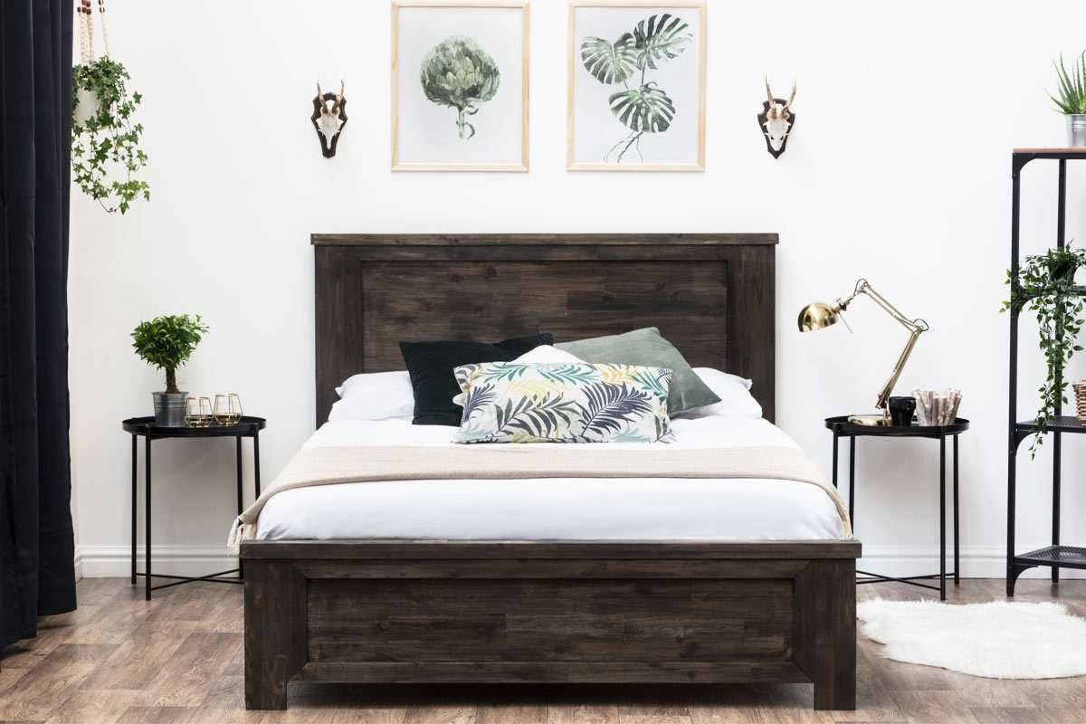 Plumley Rustic Teak Chunky Dark Wooden Farmhouse Bed Frame