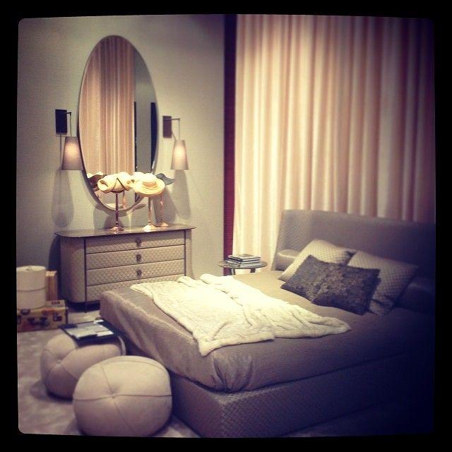 Our #controluce #bedroom... #Joan #mirror.. Vivien #bed... Penelope #cupboard..Sofia #leather #pouff...Natalie #lamp...