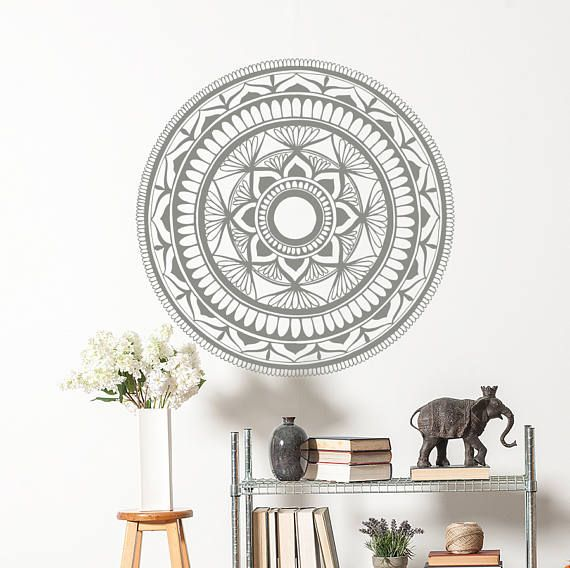 Mandala Wall Decal Mehndi Decor Yoga Gift Yoga Studio Decor - Yoga studio wall decals