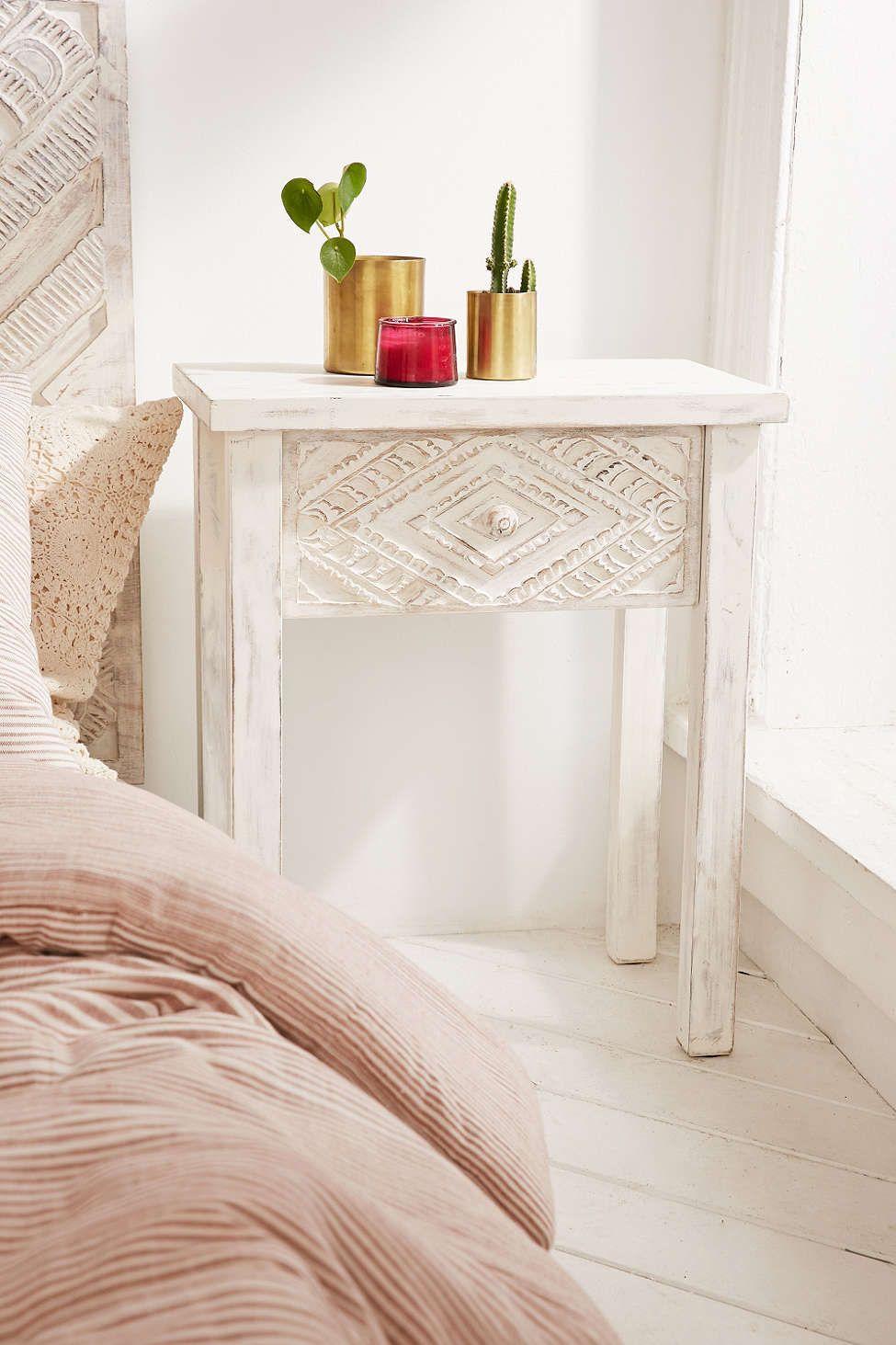 Amira Carved Wood Nightstand Boho Bedside Table Wood Nightstand Wood Bedside Table