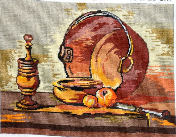 Harvest Colors Wall Art Coper Pot Gobelin Fall Colors Wall Embroidery Quality 100 Handmade Knitted Artwork Mustard Orange