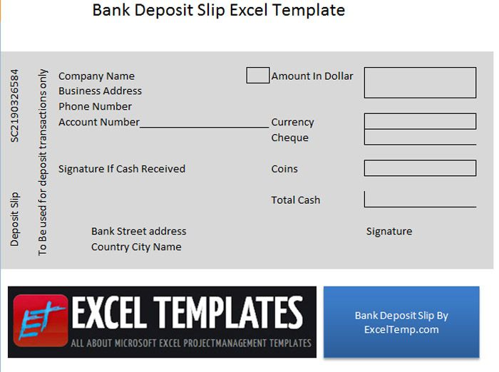 Bank Deposit Slip  Excel Temp    Bank Deposit