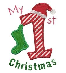 First Christmas Applique 2 Sizes Baby