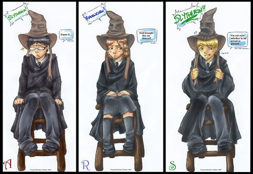 Albus Potter, Rose Weasley, and Scorpius Malfoy being sorted (LOVE Rose's response to Ravenclaw :P)