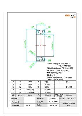 """3//16/"""" x 3//8/"""" x 1//8/"""" SR166C-2OS ABEC-7 Stainless CERAMIC Ball Bearing 2 PCS"""