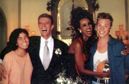 Keepyour'lectriceyeonmebabe- David Bowie+Duncans girlfriend with Iman+Duncan Jones on their Florence wedding in 1992