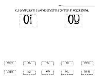 Students cut and paste words with the vowel diphthongs | oi oy ...