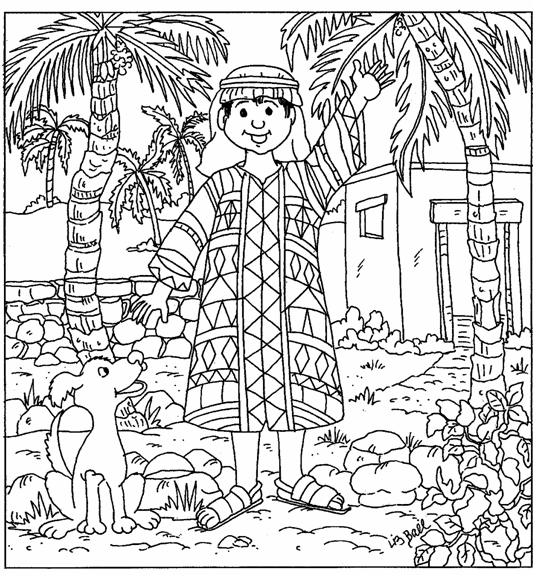 Coloring pages joseph and his coat ~ Joseph - Colorful Coat Coloring Page - SundaySchoolist