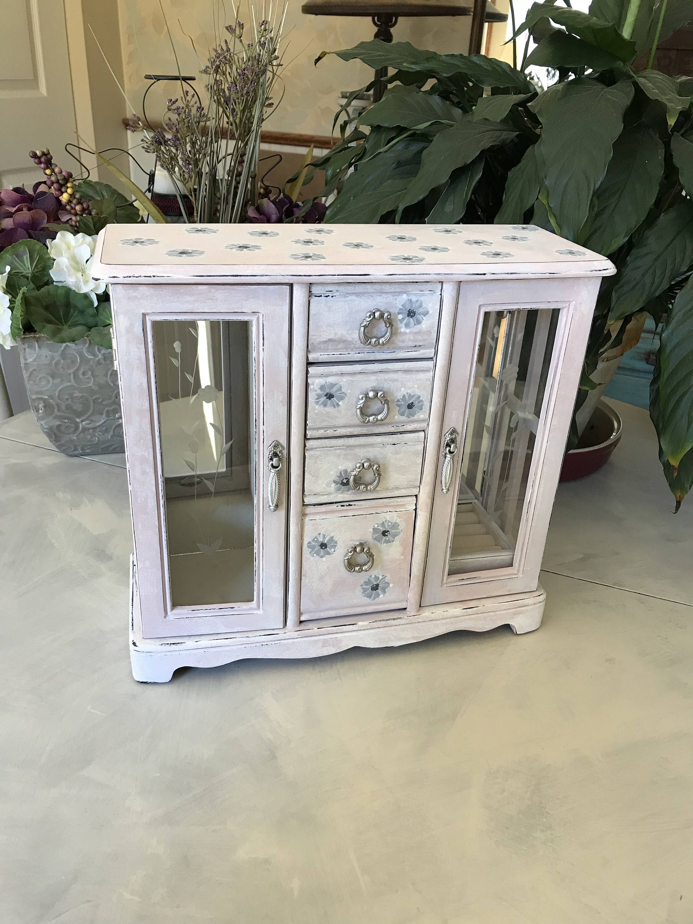 Upcycled Vintage Jewelry Box Wooden Shabby Chic Jewelry Armoire