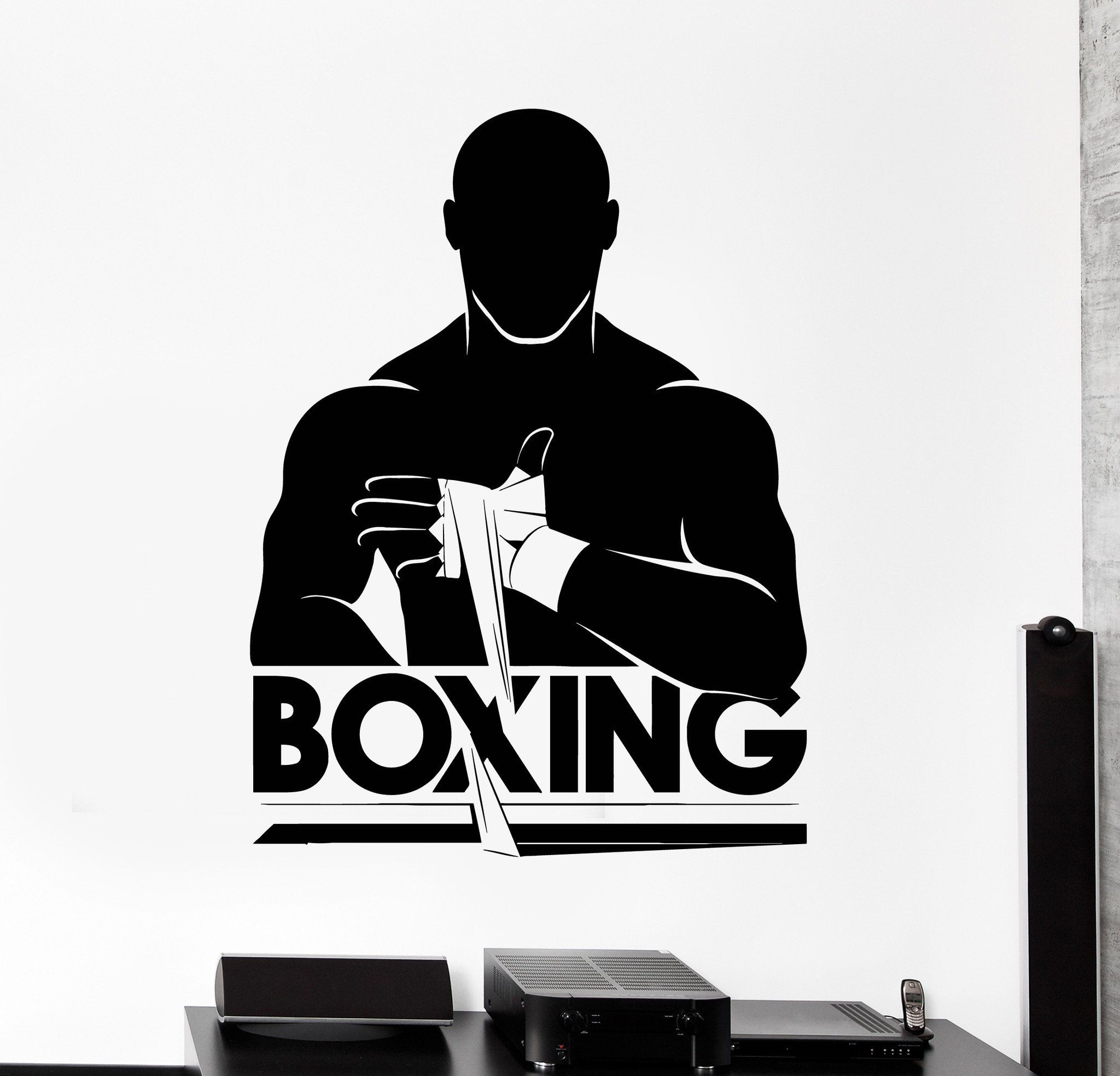Wall Sticker Sport Boxing Punching Bag Martial Arts Vinyl Decal z3009
