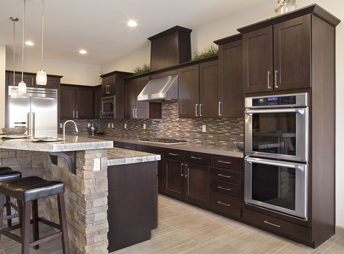 Exceptional Kitchen Backsplash Dark Cabinets Dark Birch Kitchen Cabinets With Shining  White Quartz | Kitchen Cabinets | Pinterest | Kitchen Backsplash, White  Quartz And ...