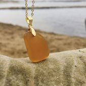 Photo of Amber seaglass pendant, gold plated seaglass pendant, beach glass jewelry, sea glass jeweller…