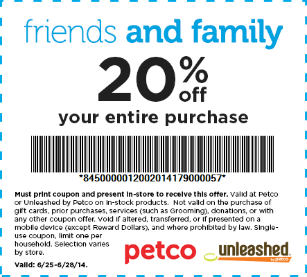 Petco Coupons 20 Off The Tab Today At Petco Promo Codes Print Coupons Petco Printable Coupons