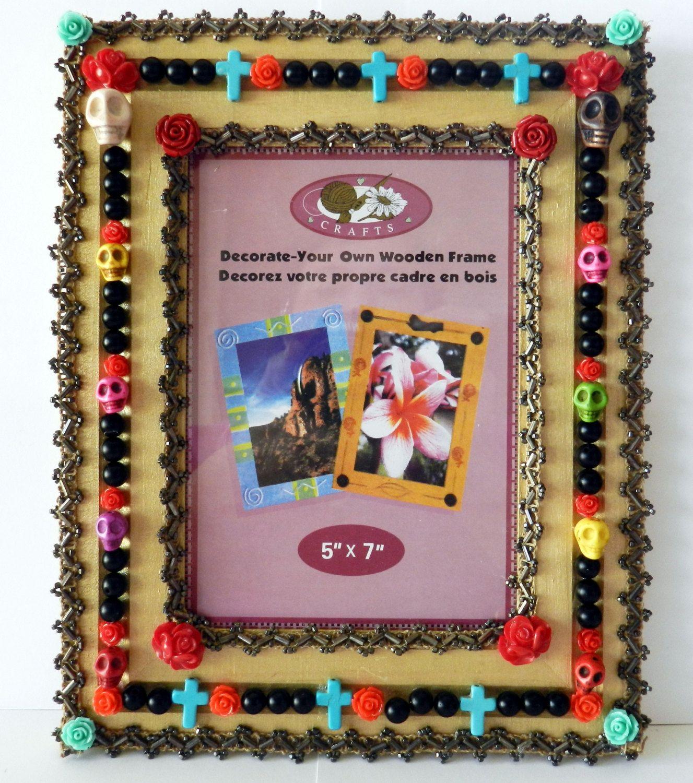 Jeweled Picture Frame-Altered Art-Mixed Media-Dia De Los Muertos ...