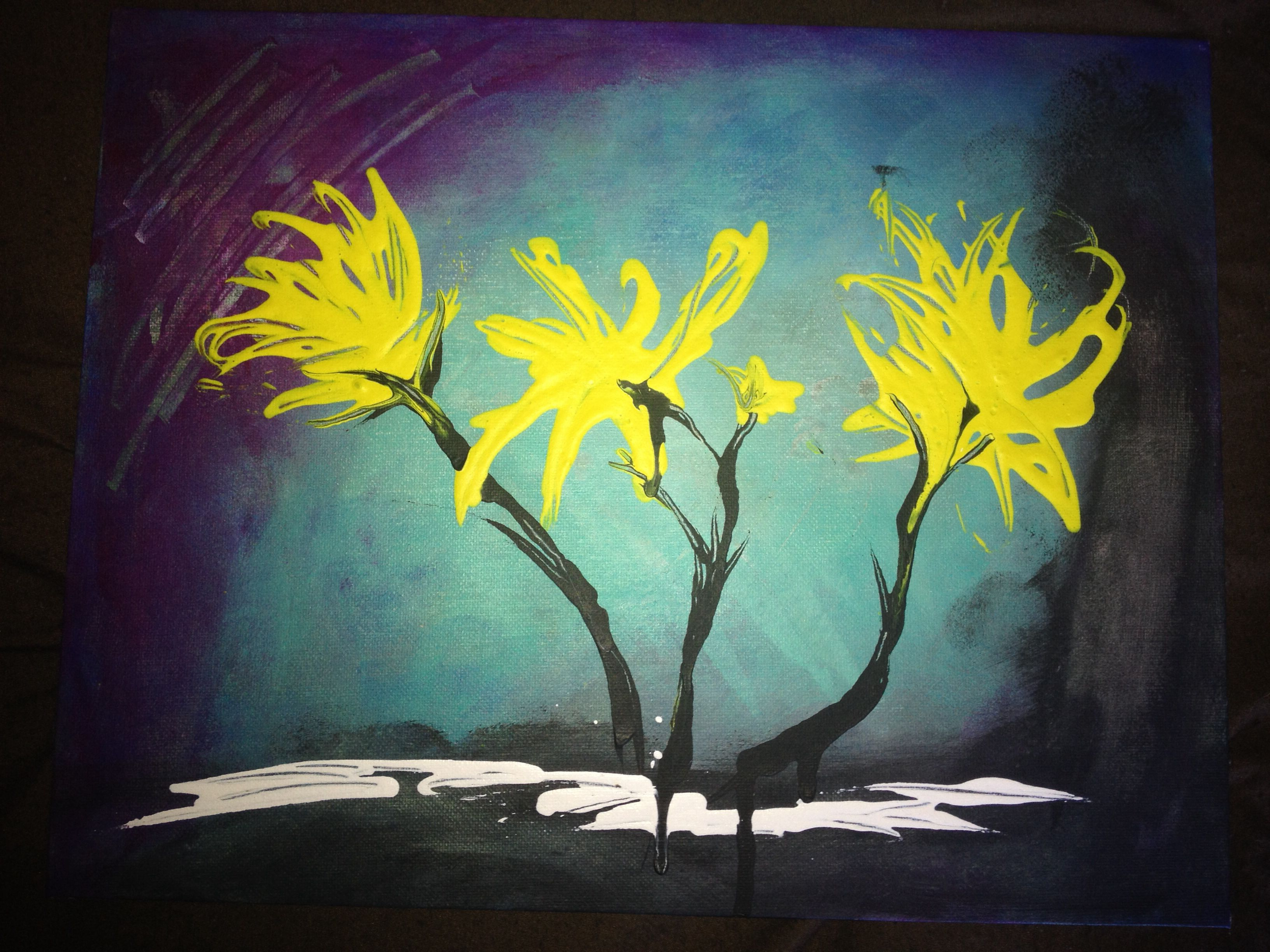 Original abstract painting- acrylic abstract flowers