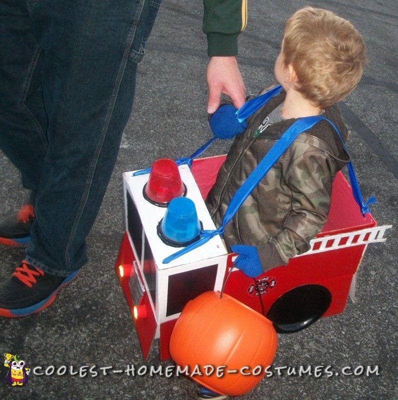 Adorable Homemade Toddler Firetruck Costume for Halloween & Adorable Homemade Toddler Firetruck Costume for Halloween   Fire ...