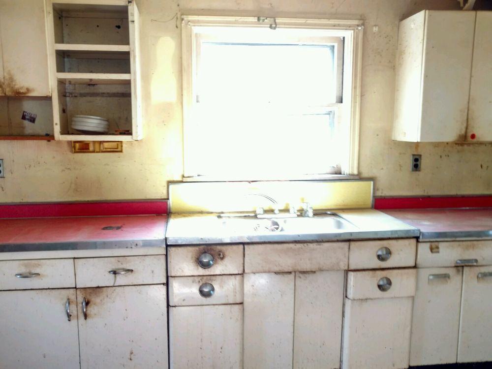 Vintage Metal Kitchen Cabinets Lot | Metal kitchen ...