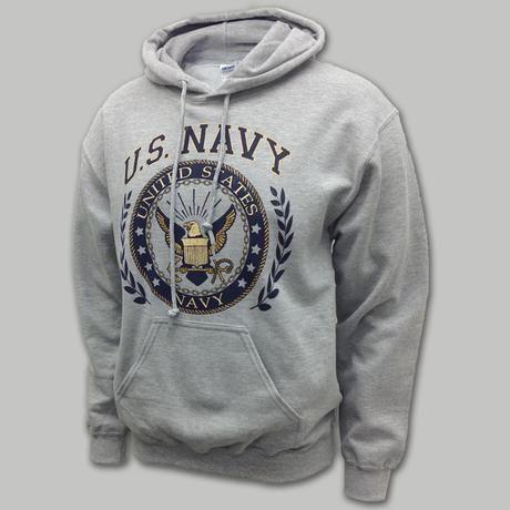 Navy Laurel Leaf Hooded Sweatshirt | ArmedForcesGear.com | Armed ...