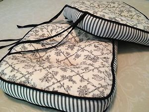 Black White Waverly Toile Chair Cushions With Ties