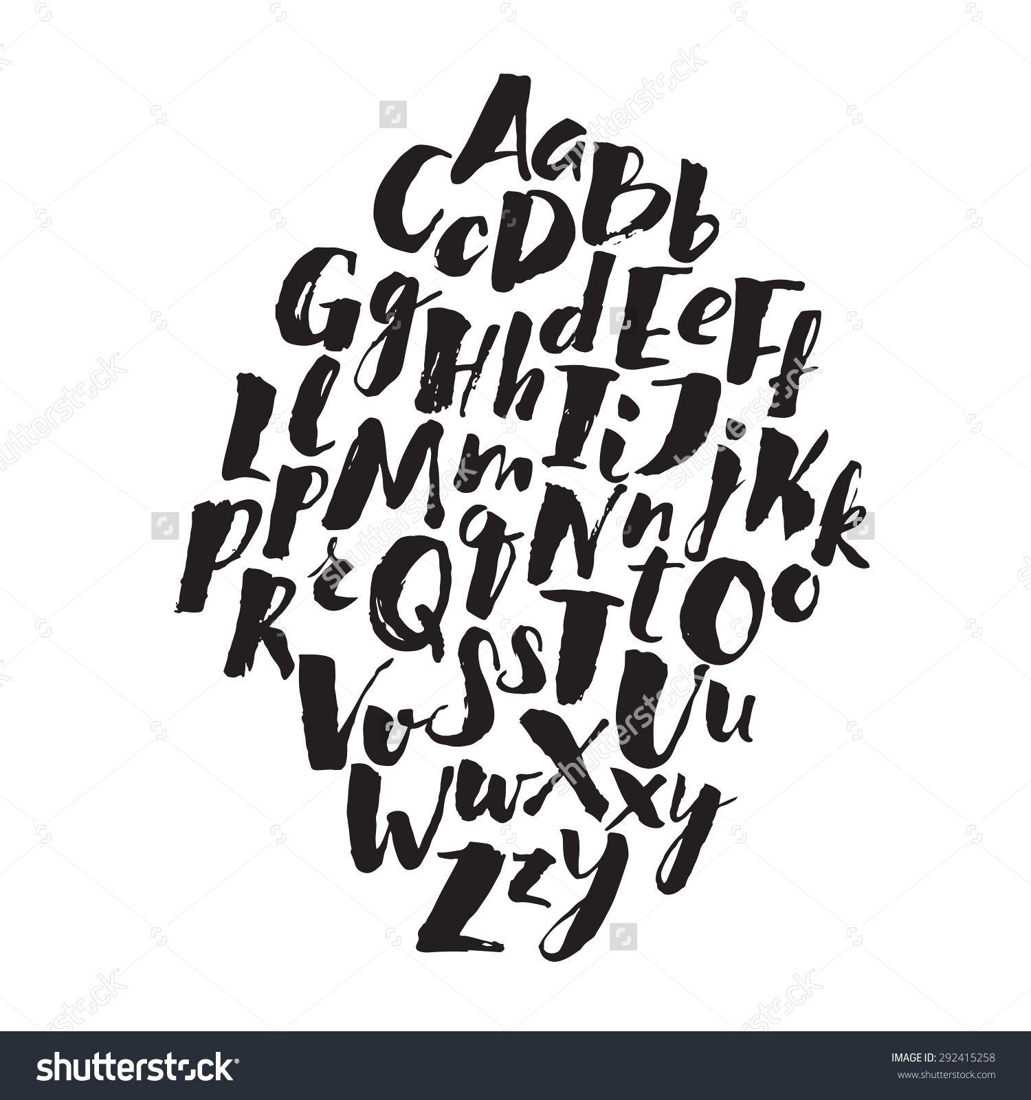 handwritten alphabet written with brush pen abc poster