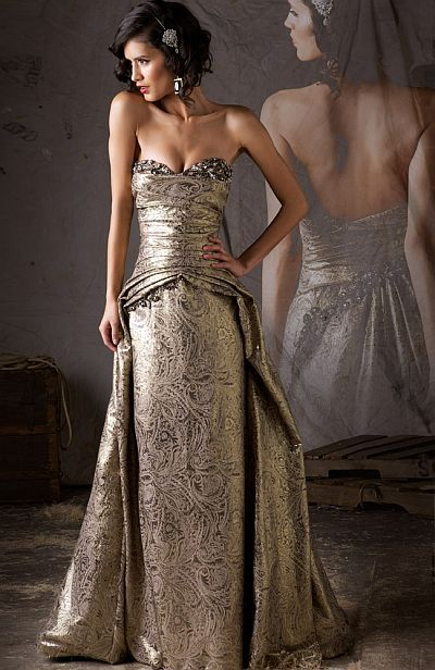 MacDuggal Couture Regal and Romantic Antique Gold Ball Gown 80113D ...