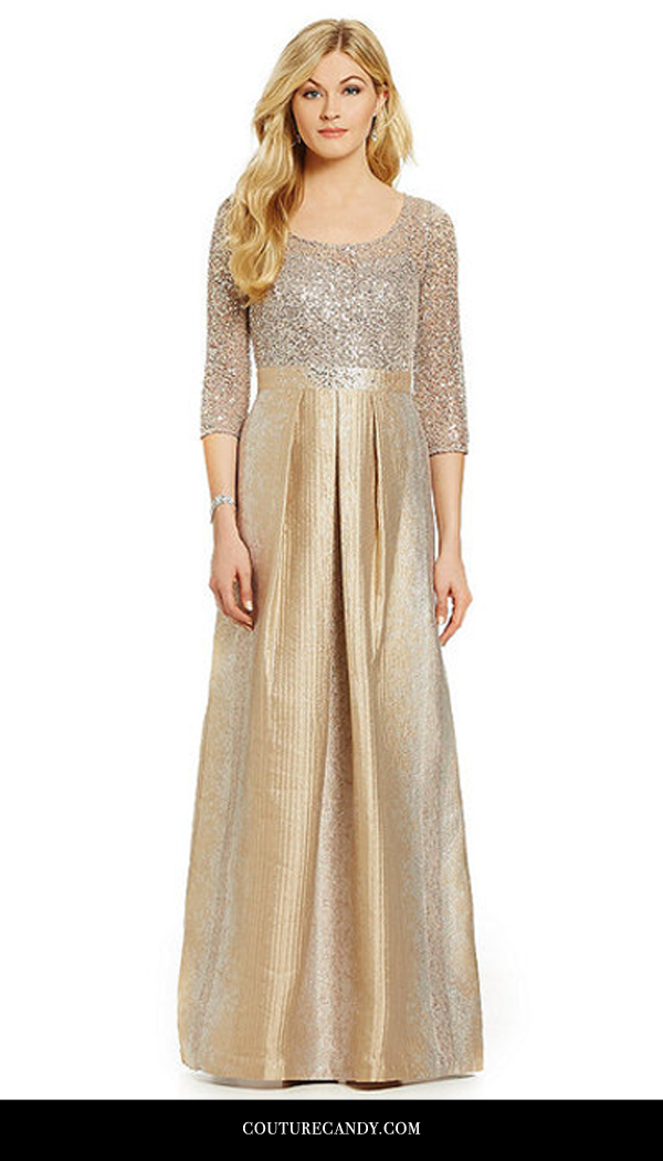 Kay Unger - Sequin Lace Bodice Gown In Bisque | www.couturecandy.com
