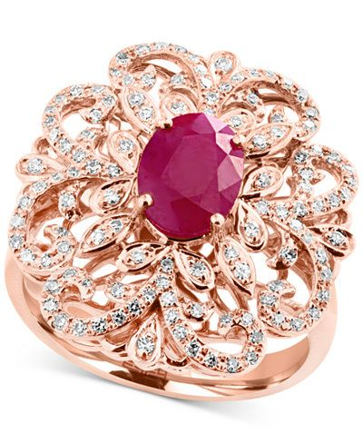 Amoré by EFFY® Certified Ruby (1-3/8 ct. t.w.) and Diamond (3/8 ct. t.w.) Statement Ring in 14k Rose Gold