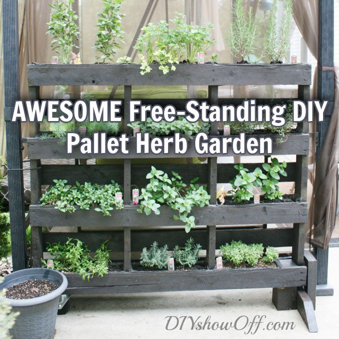 Awesome free standing diy pallet herb garden pallet herb for How to build a vertical pallet garden