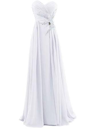 Trendy Long white dresses under 100 dollars