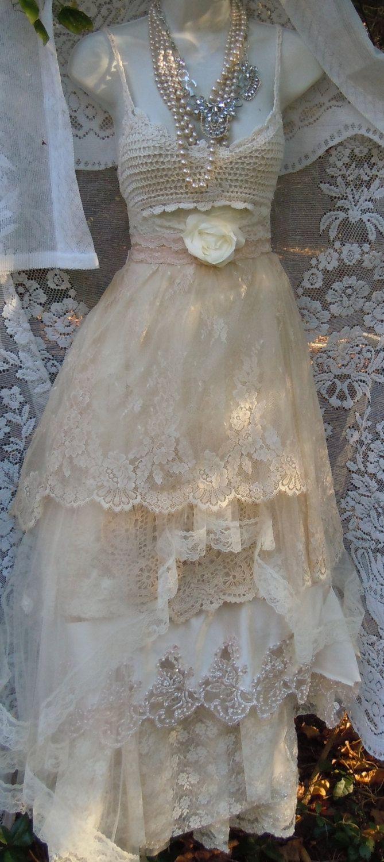 Cream dresses for weddings  Cream wedding dress lace crochet champagne tulle fairytale vintage